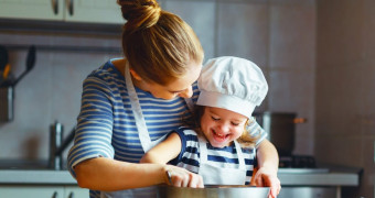 happy family in kitchen mother and child preparing dough bake cookies picture id658018162 2